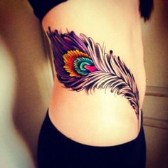 Peacock Feather Tattoo For Ribs