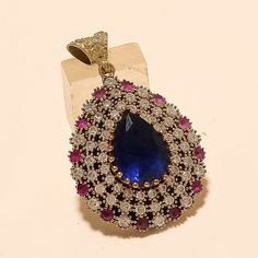 Turkish Two Tone Tanzanite Ruby Pendant 925 Sterling Silver Christmas Jewelry AA Silver Christmas, Christmas Jewelry, Ruby Pendant, Turkish Jewelry, Handmade Wedding, Engagement Gifts, Fine Jewelry, Jewels, Sterling Silver