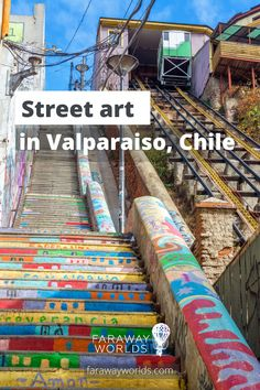 Discover the colours and vibrancy of Valparaiso, Chile's capital of street art. Built on hills overlooking a harbour on the Chilean coast, Valparaiso is only a couple of hours out of Santiago, making a perfect day trip from the big city Beautiful Places In The World, Beautiful Beaches, Scenic Train Rides, Colourful Buildings, Interesting Buildings, Ancient Ruins, Fishing Villages, Beach Holiday, Outdoor Art