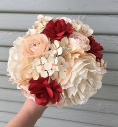 You will receive one mixed paper flower bouquet in your choice of colors. This bouquet is made up of crepe paper peonies, ranunculus, paper hydrangea and roses. The bouquet measures about inches wide and 11 inches tall. Origami Bouquet, Paper Bouquet, Diy Bouquet, Bouquet Flowers, Bridal Bouquets, Diy Flowers, Wedding Bouquet, Crepe Paper Flowers Tutorial, Tissue Paper Flowers