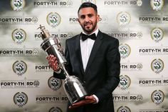 Leicester City's Riyad Mahrez poses with his PFA Player of the year award 2015 /16 . First African player to win this award.