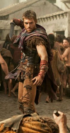 Liam McIntyre in Spartacus: Blood and Sand Spartacus Tv Series, Liam Mcintyre, Spartacus Blood And Sand, Gods Of The Arena, Greek Warrior, Teen Wolf Boys, Mystery Novels, Ancient Rome, Roman Empire
