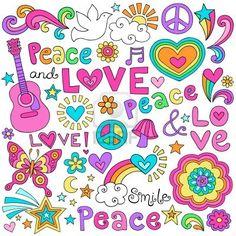 Peace Love and Music Flower Power Groovy Psychedelic Notebook Doodles Set met Tekens van de Vrede, Dove, akoestische gitaar Stockfoto