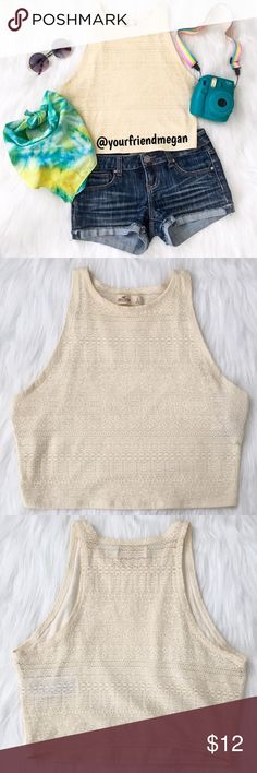 Hollister Crochet Crop Tank Festival vibes! A perfect layer for your Coachella outfit. Have some fun with this cropped tank top and add a cool colored bandeau underneath. The back has a cute sheer floral pattern. Bundle this with bandeaus from my closet! Hollister Tops Tank Tops