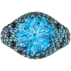 Black Diamond and 4.50cts Blue Topaz Ring in Black Gold by Ferrucci