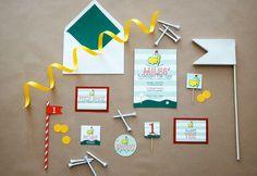 Masters themed birthday invitations