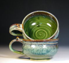 Reserved for Tanya- set of two cappuccino mug cup stoneware glazed in green moss brown wheel thrown by hughes pottery