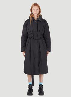 Acne Studios Women's Belted Padded Coat in Black | LN-CC Oversized Puffer Coat, Belts For Women, Black Belt, Acne Studios, Ready To Wear, Champion, Long Sleeve, Sleeves, How To Wear