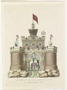 A. Schol (II) | Algemene Wapening, decoratie op het Kadijksplein, 1795, A. Schol (II), 1795 | De Algemene Wapening, allegorische decoratie opgericht op het Kadijksplein te Amsterdam bij het Alliantiefeest op 19 juni 1795. Middeleeuwse burcht staande op rotsen, op de torens symbolen van de astronomie, hydrografie en geometrie, Op het chassinet in de onderdoorgang wordt de Vrijheid door Bataafse en Franse matrozen op een schild gehezen. Onderdeel van een serie van dertien platen.