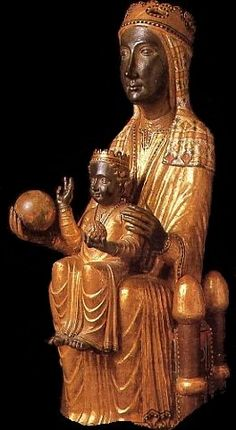 Our Lady of Montserrat, late century, romanesque sculpture in wood, Catalonia's patron saint. Romanesque Sculpture, Romanesque Art, Lady Madonna, Madonna And Child, La Madone, Black Jesus, Sacred Feminine, Holy Mary, Blessed Virgin Mary