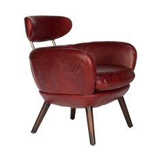 Sit back and relax in this chic and ultra-comfortable feat of mid-century modern design. Constructed from eco-friendly rubberwood and beautifully upholstered in rich, reddish brown leather, the Cardina...  Find the Cardinal Leather Arm Chair, as seen in the Check Into The Hotel Lincoln Collection at http://dotandbo.com/collections/check-into-the-hotel-lincoln?utm_source=pinterest&utm_medium=organic&db_sku=108393