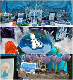 Frozen birthday party theme Kids Girl Boy Blue