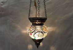 Moroccan lantern mosaic hanging lamp glass chandelier light lampen candle n 009  #Handmade #Moroccan