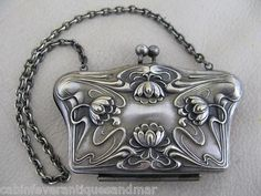 Antique Victorian Art Nouveau Floral Lilly Silver Repousse Coin Case Dance Purse.