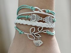 224 Handmade leather bracelet Infinity two owls and a bird on a branch charms with multi-layer cords Fashion jewelry Birthday gift For girls on Etsy, $7.99