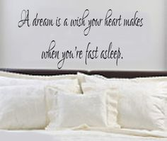 Bedroom Decal - A Dream is a Wish Your Heart Makes Bedroom Wall Decal - Bedroom Decor on Etsy, $15.00