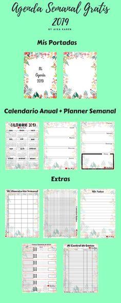 Agenda 2019 Descargable GRATIS 1 Agendas Diy, Diy Agenda, Agenda Planner, Agenda Printable, Bullet Journal Hacks, Life Lessons, Diy And Crafts, Budgeting, Notebook
