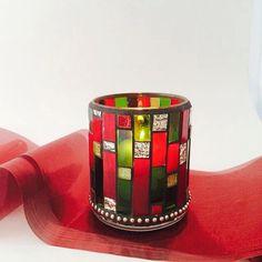 Mosaic candle holder Handmade Christmas by BellasArtMosaics