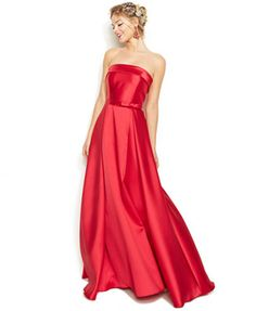 Xscape Strapless Side-Bow Gown