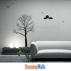 Birch Tree Decal - Tree wall decal with moon and clouds - Nature Wall Decal Sticker - moon wall decal