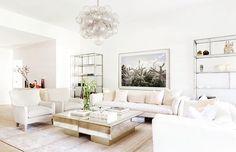 Beautiful Art Deco styled living room #chandelier #livingroom #interiordesign #homedecor #white #natural #modern #bubble by whitehousingdesign