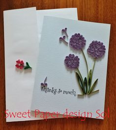 Paper Quilled Beautiful Purple flower Card for Graduation,C,Congratulation, Wedding, birthday,love, fathers day ,Anniversary card