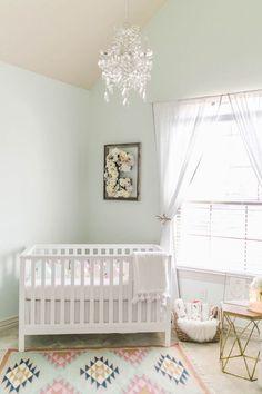 Ideas Baby Nursery Ideas Mint Paint Colors For 2019 Light Green Nursery, Green Nursery Girl, Pastel Nursery, Mint Nursery, Baby Nursery Themes, Baby Boy Rooms, Baby Bedroom, Baby Room Decor, Nursery Room