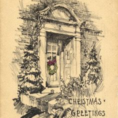 Christmas card drawing by Charles Eames.
