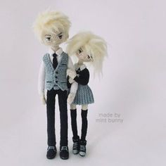 Amigurumi school boy and girl dolls by Yulia, happy dollmaker✌ @mint.bunny. (Inspiration).