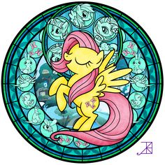 Stained Glass: Fluttershy -better- by Akili-Amethyst.deviantart.com on @deviantART