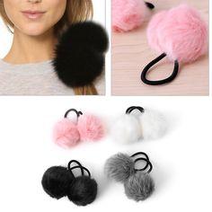 Elastic Women Girls Pompom Ball Hairband Rope Ring Hair Band Ponytail Holder    eBay