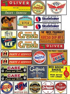 Signs and Graphics for your Model Railroad Vintage Tin Signs, Vintage Tins, Vintage Labels, Advertising Signs, Vintage Advertisements, Coca Cola Sales, Automotive Sales, Billboard Signs, Train Pictures