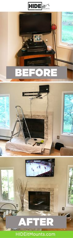 Mounting the cable box with the TV, for a great transformation.