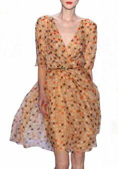 Multicolor Geometric Belt V-neck Half Sleeve Chiffon Dress
