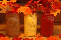 Falling Leaves QUART size collection of by PineknobsAndCrickets Fall Halloween, Halloween Crafts, Holiday Crafts, Autumn Harvest, Autumn Leaves, Mason Jar Crafts, Mason Jars, Quart Jar, Falling Leaves