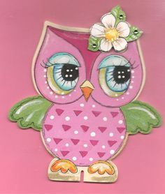 Owl handpainted ornament Lil' Ms Chuckles Hootie, little girls Ornament or desk stand up  ALSO CHI OMEGA OWL