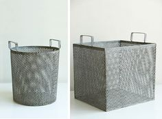"""Industrial Basket  Get organized without compromising your style. The Industrial Basket, available in four styles, neatly contains items within its metal sides. Handles allow you to easily transport the basket.      Sizing:  Square: 12"""" W x 14"""" H  Shallow Round: 6"""" H x 13"""" Dia.  Rectangular: 12"""" W x 5 1/2"""" H x 16"""" L  Tall Round: 12"""" H x 10"""" Dia.       $25.00 - $48.00"""