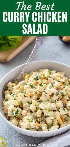 This Curry Chicken Salad is fresh and creamy with the warm flavor of curry, sweet golden raisins and buttery cashews. Enjoy it in a sandwich or in lettuce wraps for the perfect low carb meal! Supper Recipes, Side Dish Recipes, Side Dishes, Quick Chicken Recipes, Easy Recipes, Easy Meals, Sandwich Recipes, Lunch Recipes, Healthy Dinner Recipes
