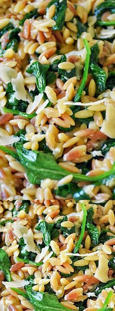 This Orzo Pasta with Spinach and Parmesan from Life Tastes Good is an easy recipe using fresh ingredients to maximize flavor! It makes an impressive side dish or all-in-one meal with the addition of chicken!