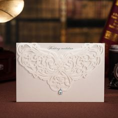 Printable White Classic Style Wedding Invitations Cards Custom With Rhinestone &  Laser Cut Flower,100pcs/lot US $99.00