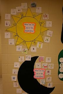 day and night anchor charts - I think this could be a nice chore chart idea... Morning to-do's can be noted on the sun, & evening/bedtime routine can be noted on the moon...