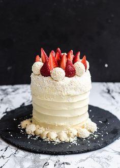 Roasted Strawberry White cake with Velvet Cream Cheese Icing