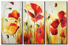 original flower art for sale Triptych Wall Art, Canvas Wall Art, Flower Canvas, Flower Art, Tableau Design, Painted Picture Frames, Modern Canvas Art, Art For Art Sake, Pop Art