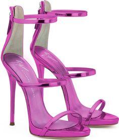 Giuseppe Zanotti Fuchsia patent leather sandal with three straps