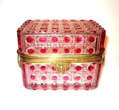 Large Stunning Baccarat 19th Century Hobnail Cut Cranberry and Clear Cut Crystal Casket with Dore Bronze Loop Handle