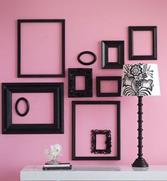 empty frames on wall love it when I see an idea that I have already done. Love Frames, Frames On Wall, Picture Frames, Frames Decor, Black Frames, Frame Within A Frame, Frame It, Bedroom Decor, Wall Decor