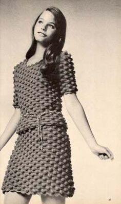 crocheted dress.....Susan Dey