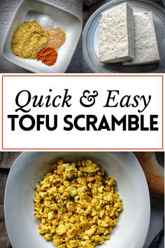 Quick and easy tofu scramble in under 10 minutes. Whether you need breakfast ideas for Christmas morning, or just need a side of quick protein - this is the recipe you shouldmake. #cooking #breakfast #tofu #vegan
