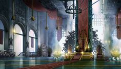 A personal project the throne room of an vain but very senile king Throne room Fantasy inspiration Fantasy city