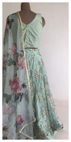 The Garden Of Love Lehenga Set The Peach Project by Ayesha Indian Dresses, Indian Outfits, Indian Clothes, Indian Attire, Indian Wear, Simple Lehenga, Bollywood Designer Sarees, Bridal Lehenga Choli, Half Saree